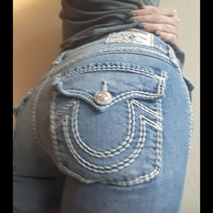 true religion light wash boot cut jeans size 25